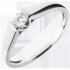 Solitaire arche or blanc  - diamant 0.14 carat
