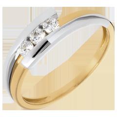 Trilogía Nido Precioso-  Bipolar -  oro amarillo y blanco - 0.019 quilates - 3 diamamantes- 18 quilates.
