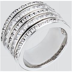 Anello Fantasmagoria - Via Lattea - oro bianco lastricato - 2.42 carati - 81 diamanti