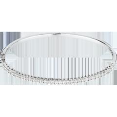 Bracciale rigido oro bianco semi pavé - 1 carati - 37 diamanti