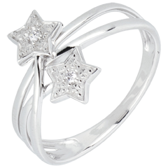 Bague étoiles filantes or blanc et diamants