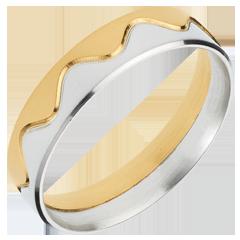 Anneau Couronne or jaune- or blanc