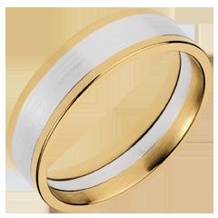 Anneau Dandy or jaune-or blanc - 6mm