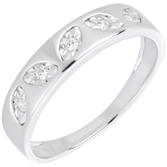 Anello Foglioline oro bianco 5 diamanti