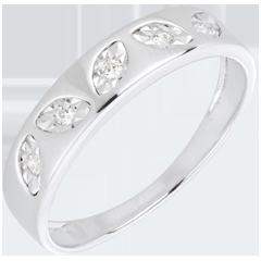Anillo hojas oro blanco 5 diamantes