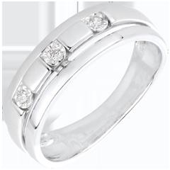 Anillo Triología Bizancio oro blanco y diamantes