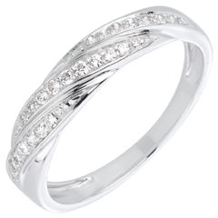 Anello Treccia preziosa oro bianco e diamanti
