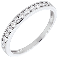 White Gold and Diamond Magic Stone Half Eternity Ring