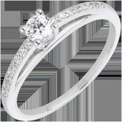 Bague de Fiançailles - Avalon - diamant 0.195 carat - or blanc et diamant