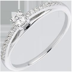 Anillo solitario diamante Avalon oro blanco