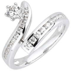 Anello La Buona Stella diamanti e oro bianco