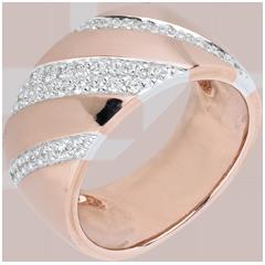 Anello Intenso - oro roso, oro bianco e diamanti