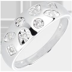 Anello tutti-frutti oro bianco e diamanti