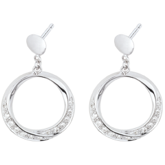 Boucles d'oreilles Lady or blanc et diamants