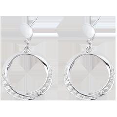 Boucles d'oreilles Lady or blanc et diamants