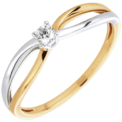 Anello Solitario Ella oro giallo oro bianco e diamante