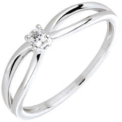 Anello Solitario Ella oro bianco e diamante