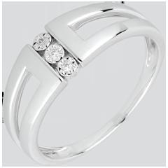 Anillo Triología Selmi oro blanco y diamantes