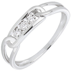 Anillo fuerza diamantes oro blanco