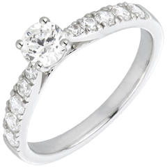 Bague Solitaire Belle Ch�rie or blanc et diamants - diamant 0.4 carat
