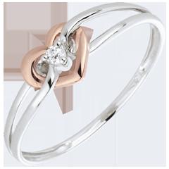 Pierścionek Moja Miłość - diament - złoto białe i złoto różowe 18-karatowe