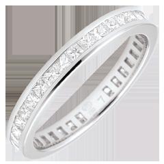 Alianza oro blanco pavimentada - engaste de carril - 1.03 quilates - diamantes princesa - Vuelta completa