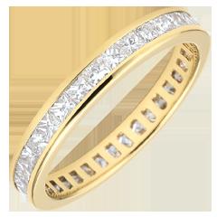 Alliance or jaune pavée - serti rail - 1.02 carats - diamants princesses - Tour complet