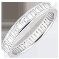 Alliance or blanc pavée - serti rail - 1.22 carats - diamants baguettes - Tour complet