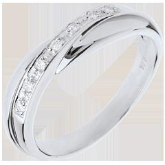 Alliance or blanc - serti rail - 7 diamants