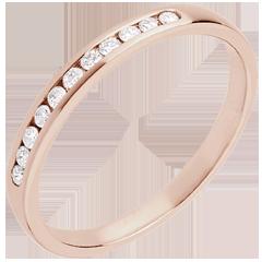 Trauring zur Hälfte mit Diamanten besetzt in Rotgold - Kanalfassung - 11 Diamanten