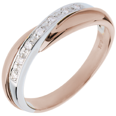 Wedding Ring  - Pink gold and white gold channel setting - 7 diamonds