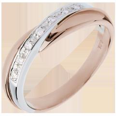 Fede nuziale oro rosa-oro bianco incastonatura Binario - 7 diamanti