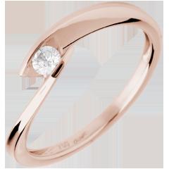 Solitaire calanque or rose - diamant 0.11 carat