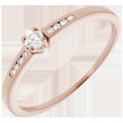 Solitaire Octave or rose - diamant 0.07 carat