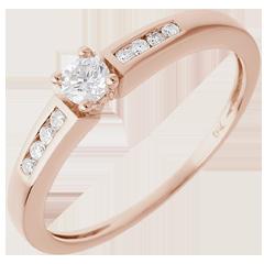 Solitaire Octave or rose  - diamant 0.13 carat