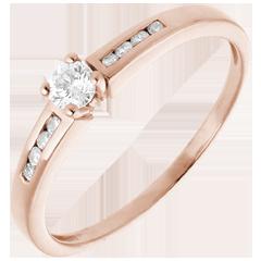 Solitaire Octave or rose  - diamant 0.16 carat