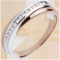 Fede nuziale oro rosa-oro bianco incastonatura Binario - 14 diamanti