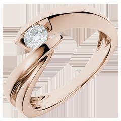 Solitario Nido Prezioso - Ondina - oro rosa - diamante 0.29 carati - 18 carati