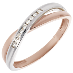 Fede nuziale oro rosa oro bianco e diamanti