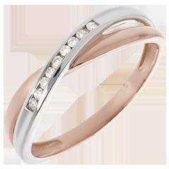Anillo Alianza oro rosa oro blanco y diamantes