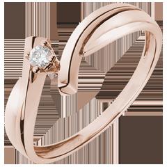 Solitaire Nid Précieux - Jupiter - or rose - 0.05 carat - 18 carats