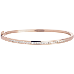 Bracelet Jonc barrette or rose 18 carats - 0.75 carats - 25 diamants