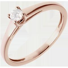 L'essentiel d'un solitaire or rose  - 0.125 carat
