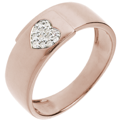 Bague coeur or rose et diamants