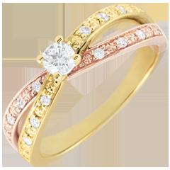 Anillo Solitario Saturno Dúo doble diamante - oro amarillo y oro rosa - 0.15 quilates - 9 quilates
