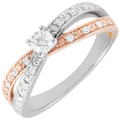 Bague Solitaire Saturne Duo double diamant - or rose et or blanc - 0.15 carat - 18 carats