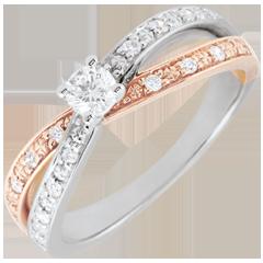 Anillo Solitario Saturno Dúo doble diamante - oro rosa y oro blanco 18 quilates
