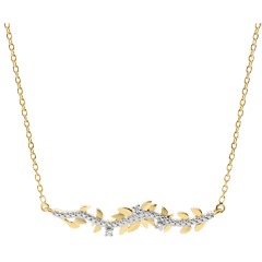 Halsketting Verrukte Tuin - Gebladerte Royal - 18 karaat geelgoud met Diamanten
