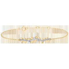 Bransoletka Zaczarowany Ogród - Królewskie Liście - złoto żółte 18-karatowe i diamenty