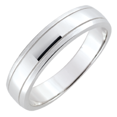 Alliance homme Horizon - or blanc 9 carats brossé